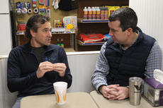 """<div class=""""source"""">RANDY PATRICK/The Kentucky Standard</div><div class=""""image-desc"""">State Rep. Chad McCoy, R-Bardstown, left, explains an issue to Trey Bradley, a Republican candidate for 5th District magistrate, during a Coffee with Chad event Saturday morning at Boston Food Mart.</div><div class=""""buy-pic""""><a href=""""/photo_select/93154"""">Buy this photo</a></div>"""