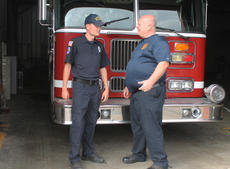 """<div class=""""source"""">RANDY PATRICK/The Kentucky Standard</div><div class=""""image-desc"""">Chief Billy Mattingly talks with Firefighter Connor Noonan at the new firehouse on John Rowan Boulevard (Ky. 245).</div><div class=""""buy-pic""""><a href=""""/photo_select/97244"""">Buy this photo</a></div>"""