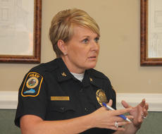 "<div class=""source"">RANDY PATRICK/The Kentucky Standard</div><div class=""image-desc"">Bardstown Police Chief Kimberly Kraeszig talks about her plans to restructure the department's command staff.</div><div class=""buy-pic""><a href=""/photo_select/89607"">Buy this photo</a></div>"