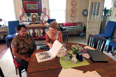 "<div class=""source"">KACIE GOODE/The Kentucky Standard</div><div class=""image-desc"">Councilwomen Janet Graves and Anne Martin sit inside the historic E.B. Miles House, owned by Ed Jett, in Bloomfield. The home's history and its owner will likely be incorporated in a Cities Stories oral history project the city is participating in as part of a pilot program through the Kentucky League of Cities and the Nunn Center. </div><div class=""buy-pic""></div>"