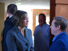 """<div class=""""source"""">SPENCER HARSH/The Kentucky Standard</div><div class=""""image-desc"""">Jacqueline Coleman talks with someone attending the announcement of her lieutenant governor campaign in Louisville Monday.</div><div class=""""buy-pic""""><a href=""""/photo_select/96620"""">Buy this photo</a></div>"""