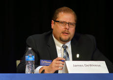"<div class=""source"">KACIE GOODE/The Kentucky Standard</div><div class=""image-desc"">James DeWeese answers a question Thursday night during a live political debate between Democratic candidates for State Representative.</div><div class=""buy-pic""><a href=""/photo_select/95014"">Buy this photo</a></div>"
