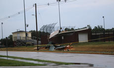 """<div class=""""source"""">RANDY PATRICK/The Kentucky Standard</div><div class=""""image-desc"""">The Bardstown High School softball dugout on West Broadway had the roof blown off it Tuesday during the storms.</div><div class=""""buy-pic""""></div>"""