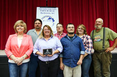 "<div class=""source"">KACIE GOODE/The Kentucky Standard</div><div class=""image-desc"">Family members of Buck Durbin attended a meeting of the Nelson County Farm Bureau Tuesday night, where Durbin, who passed away in 2014, recieved the Farmers Hall of Fame recognition.</div><div class=""buy-pic""><a href=""/photo_select/80320"">Buy this photo</a></div>"