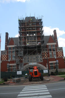 "<div class=""source"">RANDY PATRICK/The Kentucky Standard</div><div class=""image-desc"">Over the weekend, construction workers took the scaffolding all the way to the top of the bell tower of the Old Courthouse downtown to work on tuckpointing the brickwork and replacing the windows.</div><div class=""buy-pic""><a href=""/photo_select/97249"">Buy this photo</a></div>"