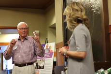 """<div class=""""source"""">KACIE GOODE/The Kentucky Standard</div><div class=""""image-desc"""">Jim Roby talks about his positive experience with the Flaget Cancer Center Thursday night during a monthly tour offered as part of the hospital&#039;s Project Hope.</div><div class=""""buy-pic""""><a href=""""/photo_select/84941"""">Buy this photo</a></div>"""