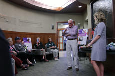 """<div class=""""source"""">KACIE GOODE/The Kentucky Standard</div><div class=""""image-desc"""">Jim Roby talks about his positive experience with the Flaget Cancer Center Thursday night during a monthly tour offered as part of the hospital&#039;s Project Hope.</div><div class=""""buy-pic""""><a href=""""/photo_select/84945"""">Buy this photo</a></div>"""