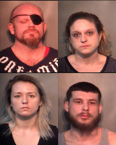 "<div class=""source"">Nelson County Jail</div><div class=""image-desc"">Clark Nathan Spalding, Jessica Cooper Danner, Miranda Elizabeth Ragg and David Allen Bryant were all arrested Friday after detectives conducted a search of a home on Hubbards Lane. Crystal Meth, Heroin, pills and marijuana were seized from the residence.</div><div class=""buy-pic""></div>"