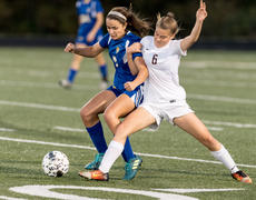 "<div class=""source"">DAVID ASHER/Contributing Photographer</div><div class=""image-desc"">Bethlehem&#039;s Jordan Cross, left, and Bardstown&#039;s Macy Rawlins tussle for a ball in the Banshees&#039; 1-0 win in last year&#039;s 5th Region championship. Cross, a senior defender, and Rawlins, a sophomore midfielder, will be key to ensuring a rematch in this year&#039;s region title game.</div><div class=""buy-pic""></div>"