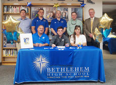"""<div class=""""source"""">SONDRA O&#039;HARE/Bethlehem High School</div><div class=""""image-desc"""">Bethlehem senior Daulton Harrison (center) signed last week to continue his soccer career at Spalding University. Harrison helped lead the Eagles to the district title in 2017.</div><div class=""""buy-pic""""></div>"""