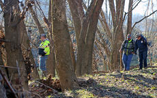 """<div class=""""source"""">KACIE GOODE/The Kentucky Standard</div><div class=""""image-desc"""">Members of a search party look down from the riverbank Thursday morning as efforts to find missing Hodgenville man Michael Key continue.</div><div class=""""buy-pic""""><a href=""""/photo_select/72491"""">Buy this photo</a></div>"""