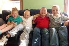 "<div class=""source"">KACIE GOODE/The Kentucky Standard</div><div class=""image-desc"">A Cox&#039;s Creek family has been battling childhood cancer for the past several years after a second child was diagnosed in December. Gage and Trevor Lewis, center, have shared an oncologist at Norton Children&#039;s Hospital in Louisville. Gage is currently battling acute lymphoblastic leukemia and Trevor had previously been diagnosed with brain cancer at the age of 4. One either side are supportive siblings Carley and Derek Jackson, who are eager to help their brother out during his battle.</div><div class=""buy-pic""><a href=""/photo_select/85052"">Buy this photo</a></div>"
