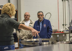 """<div class=""""source"""">KACIE GOODE/The Kentucky Standard</div><div class=""""image-desc"""">Jim Hourigan and Ken Berry, of Knights of Columbus, learn about a new business inside the Guthrie Opportunity Center Monday morning. The KoC made a donation to the center, which employs a special sector of the community.</div><div class=""""buy-pic""""><a href=""""/photo_select/83407"""">Buy this photo</a></div>"""