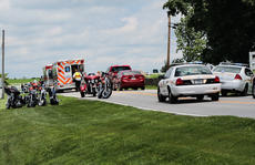 "<div class=""source"">KACIE GOODE/The Kentucky Standard</div><div class=""image-desc"">A motorcycle accident lead to a chain reaction for a large group of bikers moving through the Bloomfield area on Taylorsville Road. Nelson County Sheriff's Deputies and Nelson County EMS were called out to the scene of two accidents just before 2 p.m. Saturday. Three people were sent to the hospital.</div><div class=""buy-pic""><a href=""/photo_select/67225"">Buy this photo</a></div>"