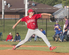 """<div class=""""source"""">PETER W. ZUBATY/The Kentucky Standard</div><div class=""""image-desc"""">Nelson County's Benton McGill struck out six and allowed just five hits and one walk in a complete-game shutout of Bardstown in Thursday's 19th District championship.</div><div class=""""buy-pic""""></div>"""