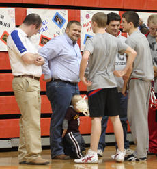 "<div class=""source"">Peter W. Zubaty</div><div class=""image-desc"">Cardinal wrestlers were visited by some old friends Wednesday during their Senior Night ceremonies, including former coach and program architect Jason Detre, second from left, who is now the principal at New Haven.</div><div class=""buy-pic""><a href=""/photo_select/22811"">Buy this photo</a></div>"