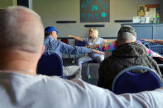 "<div class=""source"">KACIE GOODE/The Kentucky Standard</div><div class=""image-desc"">Trainer Traci Melgar leads an exercise demonstration last Wednesday for the local Parkinson&'s support group.</div><div class=""buy-pic""><a href=""/photo_select/94753"">Buy this photo</a></div>"