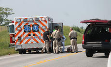 """<div class=""""source"""">RANDY PATRICK/The Kentucky Standard</div><div class=""""image-desc"""">Emergency medical personnel transport a patient to an ambulance following a two-vehicle accident on U.S. 31E Monday afternoon in which three adults were injured.</div><div class=""""buy-pic""""><a href=""""/photo_select/95245"""">Buy this photo</a></div>"""