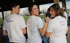 """<div class=""""source"""">RANDY PATRICK/The Kentucky Standard</div><div class=""""image-desc"""">Matt McGaughey, Amber Keene and Angie Keene display positive messages on the backs of their T-shirts at the Reagan Carter 5K Color Run Saturday.</div><div class=""""buy-pic""""><a href=""""/photo_select/94534"""">Buy this photo</a></div>"""