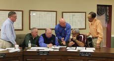 "<div class=""source"">RANDY PATRICK/The Kentucky Standard</div><div class=""image-desc"">Councilman John Royalty, center, discusses a proposed compromise at a Water and Wastewater Committee meeting earlier this year. From left to right are Larry Hamilton, city engineer, and Councilmen Bobby Simpson, Tommy Reed, Royalty, Roland Williams and Francis Lydian.</div><div class=""buy-pic""><a href=""/photo_select/62494"">Buy this photo</a></div>"