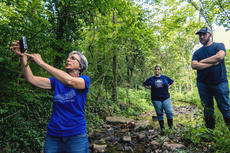 """<div class=""""source"""">KACIE GOODE/The Kentucky Standard</div><div class=""""image-desc"""">Karen Schaffer, with Salt River Watershed Watch, demonstrates how to sample a stream during a recent workshop held at Nazareth.</div><div class=""""buy-pic""""><a href=""""/photo_select/96713"""">Buy this photo</a></div>"""