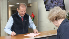 """<div class=""""source"""">RANDY PATRICK/The Kentucky Standard</div><div class=""""image-desc"""">County Judge-Executive Dean Watts files Wednesday morning at the County Clerk's Office for a seventh term. At right is County Clerk Elaine Filiatreau.</div><div class=""""buy-pic""""><a href=""""/photo_select/91642"""">Buy this photo</a></div>"""