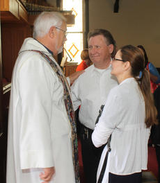 "<div class=""source"">RANDY PATRICK/The Kentucky Standard</div><div class=""image-desc"">The Rev. Karl Lusk discusses wedding plans with a visiting couple, Mike Dosset and Cassie Russell, after a Sunday service at the Church of the Ascension, where he has been the rector since 2009.</div><div class=""buy-pic""><a href=""/photo_select/77611"">Buy this photo</a></div>"
