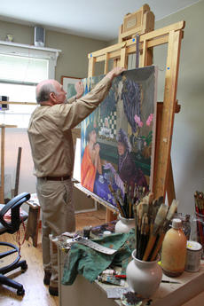 """<div class=""""source"""">ERIN L. MCCOY/The Kentucky Standard</div><div class=""""image-desc"""">Jim Cantrell hangs a painting on the easel in his studio. </div><div class=""""buy-pic""""><a href=""""/photo_select/26496"""">Buy this photo</a></div>"""