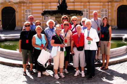 This group from Washington, Marion, Nelson and Boyle counties traveled to Germany, Switzerland and Austria. Pictured, front row, from left: Cathy Mattingly, Aileen Stevens, Connie Leachman, Janet Mattingly, Brenda Caldwell and Betty Peterson; back row: Billy Mattingly, Susan Ballard, Helen Vanderpool, Ann Blandford, Jane Ballard, Jo Elliott, Doug Bland and Donna Bland. Billy and Cathy are planning a group trip to the Greek Islands in the summer of 2015.