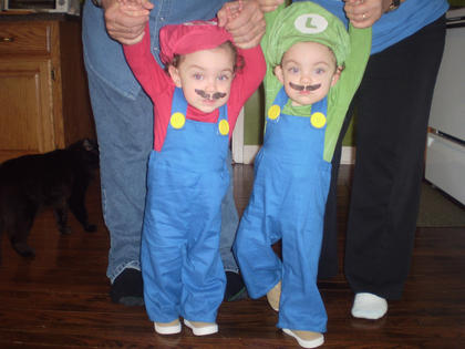 Ryan and Jared Newton in Mario and Luigi costumes that their Nana (Sandy Greenwell) made for them.