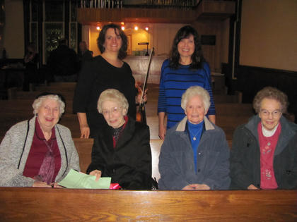 Sr. Alice Adams, SCN was honored at the Music Institute of Bardstown's recital on Oct. 25.  She recently retired from the program where she served as it's bookkeeper and board member for 13 years.  Pictured in front row: Sr. Kitty Hanrahan, Sr. Alice Adams, Sr. Teresa Cash, and Sr. Pat Hill. In the back row pictured: Suzuki violin teacher Elizabeth Jones and Suzuki piano teacher Dale Dufour.