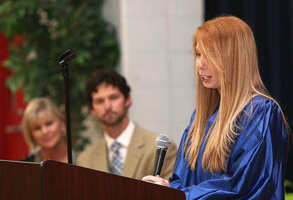 Horizons graduate Rebecca Meckiss spoke at the graduation.