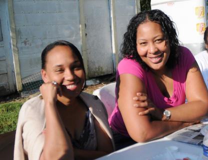 Kecia Copeland and Starr Wickliffe-Pratt asked to pose for a photo at the Buttermilk Days breakfast Saturday.