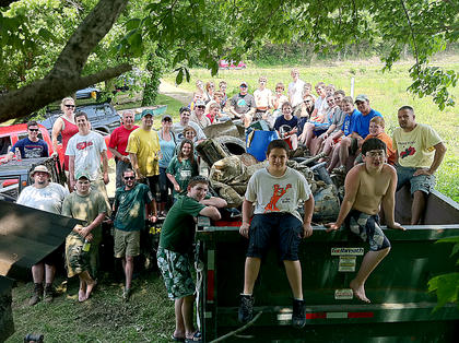 Almost 40 people participated in the seventh annual Paddle Pickup on the Beech Fork River between Fredericktown and Manton May 21, 2011. The group, which included members of hosting organization the Bardstown Boaters, Boy Scout Troops 142 and 147, and community members, was able to collect a whole dumpster of trash from a 5.5-mile stretch of river.