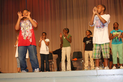 Youth of Calvary Baptist Church of Vine Grove worship through dance and lip-synching/