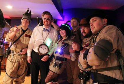 Ghostbusters pose with Kevin Andrew, Bardstown.