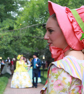 "Bayli Ryan portrays Lucy Lemoyne, who tries to woo Stephen Foster during his visit to Kentucky, in the 53rd season of ""The Stephen Foster Story."" Lemoyne and other actors in the production strolled the grounds of My Old Kentucky Home during the Opening Night Gala & Garden Party June 11, 2011."
