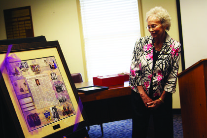 argie Bradford admires a plaque that was given to her by the Bardstown City School Board last week. The plaque honored Bradford's 34 years of service to Bardstown City Schools, as well as her work on the Kentucky School Board Association and National School Board Association. Bradford stepped down from her seat with Bardstown City Schools in June.
