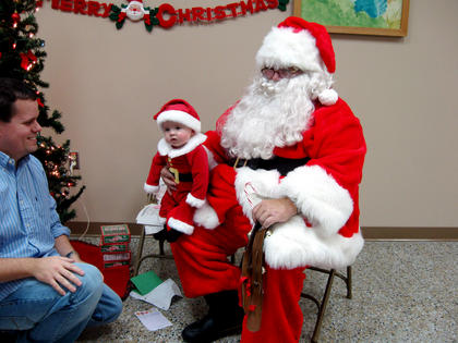 """Carter Nash Spalding pictured with Santa at the Bardstown Women's Club """"Lunch With Santa"""" Program, Dec. 3."""