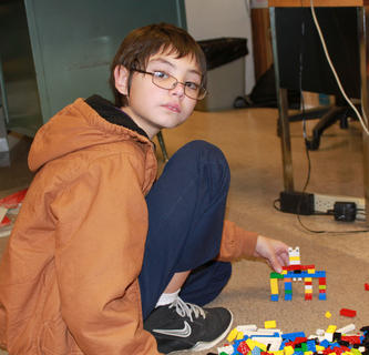 Chris Lokovich building at the Lego Club