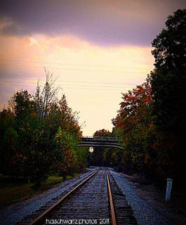 Images of North Stillwell Road, Boston, KY, showing fall color, October 2011. The New Haven train track intersects North Stillwell Road and passes under the Bluegrass Parkway shown in the photo.