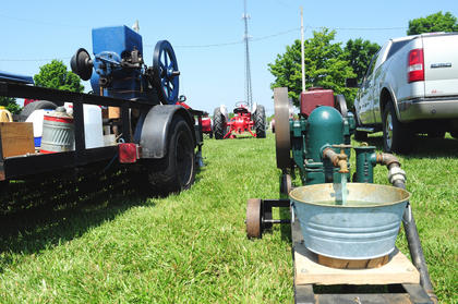"Some of the ""toys"" at the show included antique engines, like this one which pumped water."