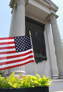 JUNE 1, 2011: The John Fitch monument on Court Square is flanked by planters and fronted with a brick walk.