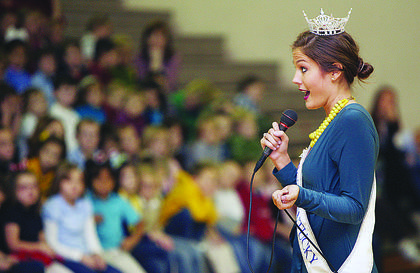 Ann-Blair Thornton, who will represent Kentucky in the Miss America pageant Jan. 14, visited Cox's Creek Elementary School, Foster Heights Elementary School and Nelson County High School while in Nelson County. A Kentucky Department of Agriculture employee, Thornton tailored her message to each age group.
