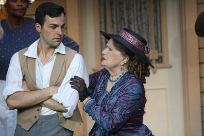 Stephen Foster (Bronson Norris Murphy) gets consoled by his mother, portrayed by Lee Evans.