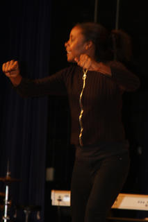 Dalayna Jackson of 11th Street Baptist Church of Bowling Green performs a dynamic liturgical dance during the Gospel Explosion.