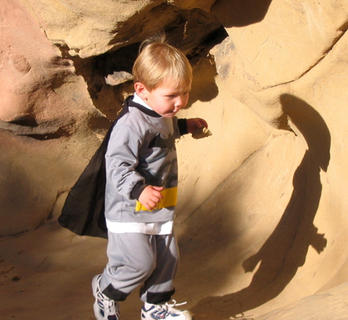 Jim Hagan, Bardstown, took this photo of his grandson, Charlie Hagan, in Mount Diablo State Park near Alamo, California. He calls it Batman and ET exploring the mountain. ET was an unexpected guest, but they were happy that he showed up.