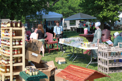 The family of Andrew Miller from Willisburg sells Amish foods and handcrafted wooden furniture at the second annual Wickland Arts & Crafts Festival held June 11-12, 2011.