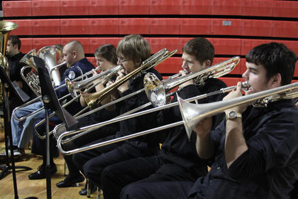 The Nelson County High School Band performs at a Veterans Day program at the school Friday, Nov. 4. The annual program came a week early because the band was slated to perform in a national Veterans Day parade in New York the following week.