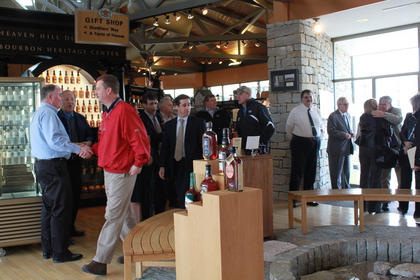 Guests gather at the Bourbon Heritage Center before taking a shuttle to the new rickhouse.